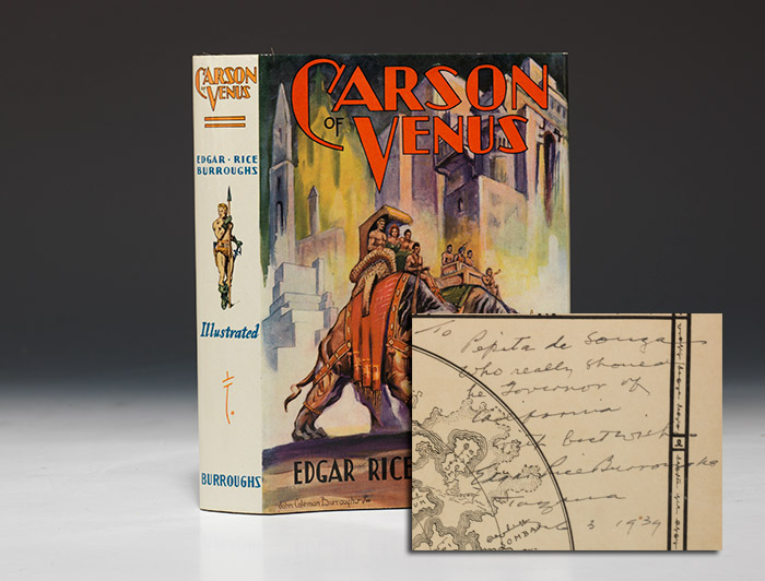First edition, 1939, of Carson of Venus, inscribed by Edgar Rice Burroughs (BRB 91001)
