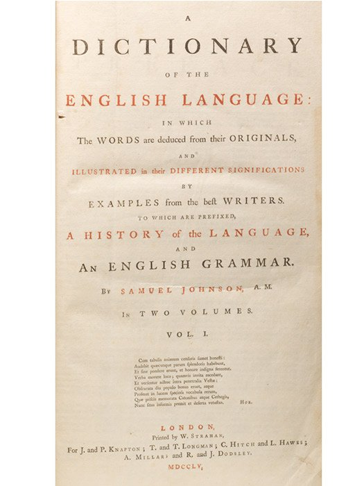 Title page of the 1755 first edition of Johnson's Dictionary (BRB 103003)