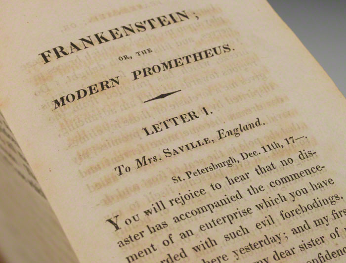 First page from the exceedingly rare 1818 first edition of Frankenstein (BRB 77799)