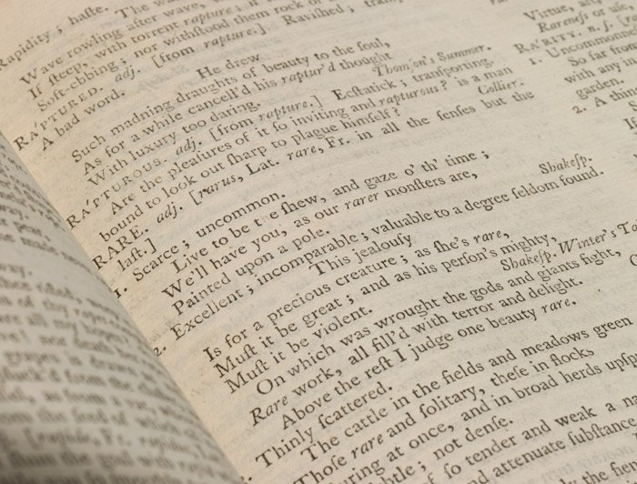 """Rare"" defined in the 1755 first edition of Johnson's Dictionary (BRB 103003)"