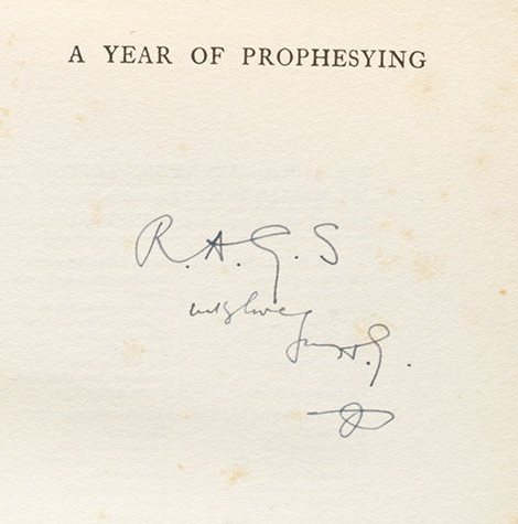 Wells' Year of Prophesying, 1924, inscribed to his close friend (BRB 104918)