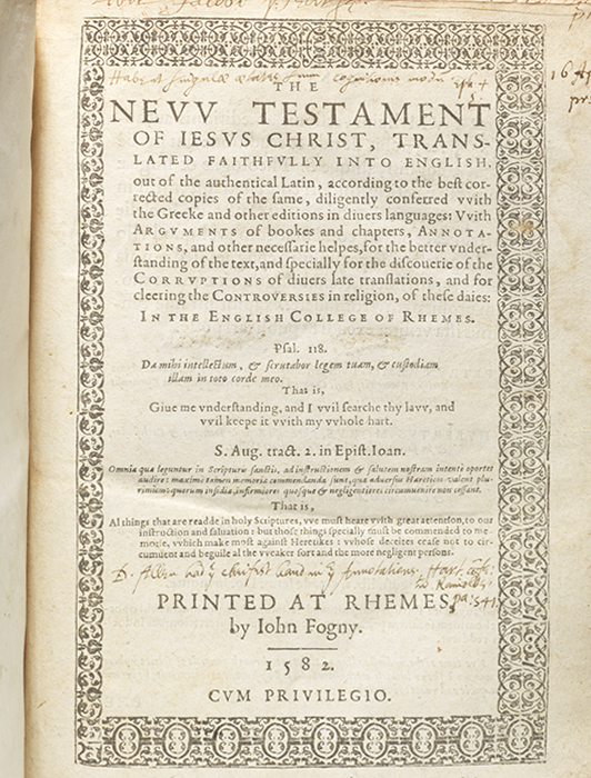 First edition of the Rheims Bible, the first Roman Catholic translation of the Bible into English. (BRB 103995)