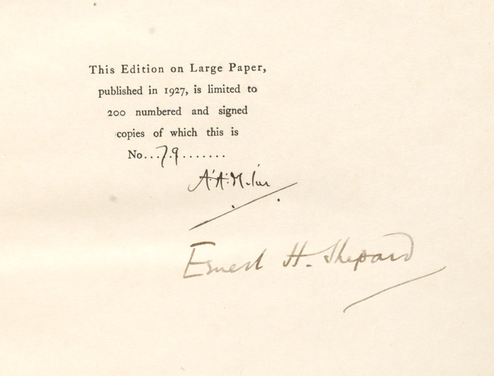 Now We are Six, 1927, Signed limited large-paper copy of the first American edition, number 79 of 250 copies signed by both Milne and illustrator Ernest Shepard (BRB 85015)